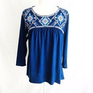 Est 1946 XL Blouse Royal Blue Embroidered Flowy